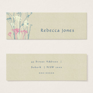 RUSTIC BLUE, WHITE, PINK COUNTRY MONOGRAM ADDRESS MINI BUSINESS CARD