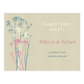 RUSTIC BLUE, WHITE, PINK COUNTRY Save the date Postcard