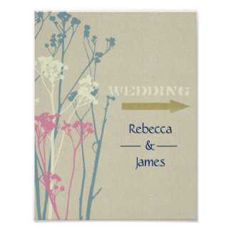 RUSTIC BLUE, WHITE, PINK COUNTRY WEDDING DIRECTION POSTER