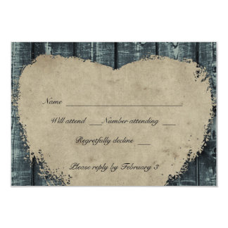 Rustic Blue Wood Heart rsvp with envelopes Card
