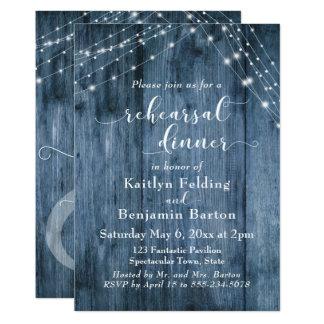 Rustic Blue Wood & Light Strings Rehearsal Dinner Card
