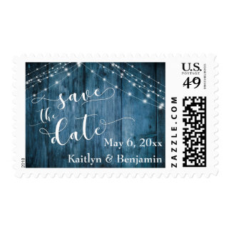 Rustic Blue Wood & Light Strings Save the Date Postage