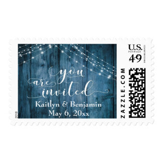 Rustic Blue Wood, Light Strings You are Invited Postage
