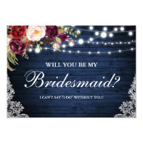 Rustic Blue Wood Lights Lace Floral Bridesmaid Invitation