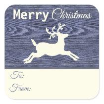 Rustic Blue Wood Reindeer Christmas Gift Tags