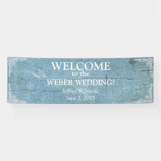 Rustic Blue Wood Wedding with Flourish Banner