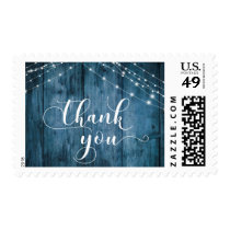 Rustic Blue Wood & White Light Strings Thank You 2 Postage