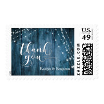 Rustic Blue Wood, White Light Strings Thank You 3 Postage