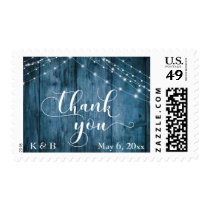 Rustic Blue Wood & White Light Strings Thank You Postage
