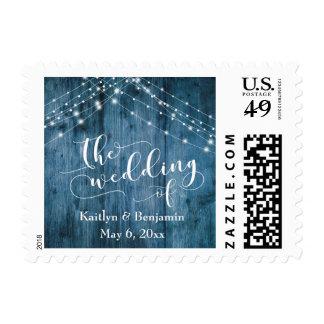 Rustic Blue Wood, White Light Strings Wedding Postage