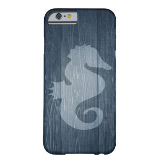 Rustic Blue Wood with Vintage Seahorse iPhone Case