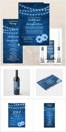 Rustic Blue Woodgrain Daisy Flowers Twinkle Lights