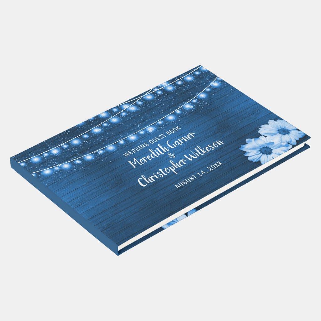 Rustic Blue Woodgrain Daisy String Lights Wedding