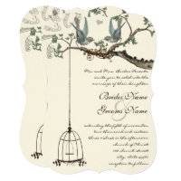 Rustic Bluebird Birdcage Wedding Invite