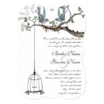 Rustic Bluebird Birdcage Wedding Invite