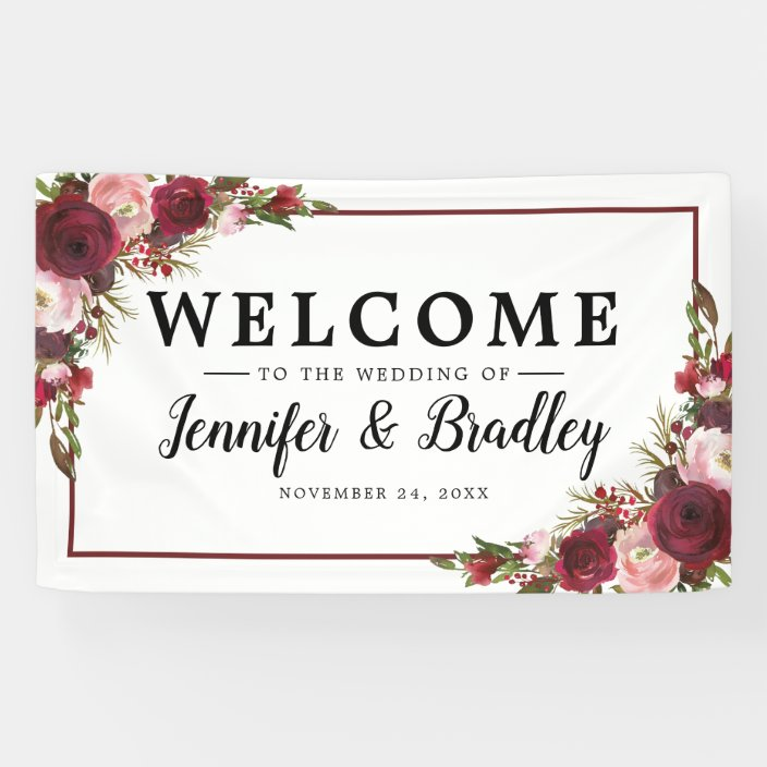 Rustic Blush Burgundy Flowers Wedding Banner Zazzle Com