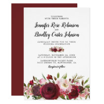 Rustic Blush Burgundy Flowers Wedding Invitation
