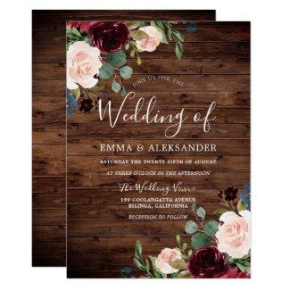 Rustic Blush & Burgundy Red Wine Flowers Wedding Invitation