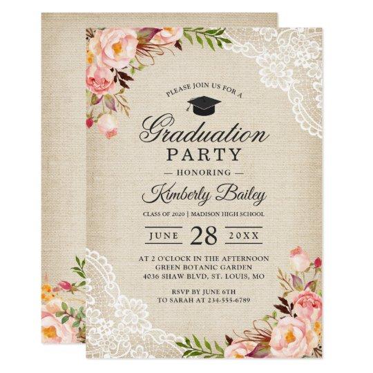 Rustic blush floral lace burlap graduation party invitation zazzle rustic blush floral lace burlap graduation party invitation filmwisefo