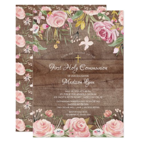 Rustic Blush Pink Floral First Holy Communion Invitation