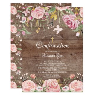 Rustic Blush Pink Floral & Gold Cross Confirmation Invitation