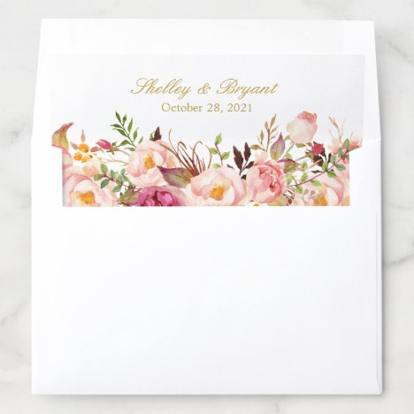 Rustic Blush Pink Floral Wedding Envelope Liner