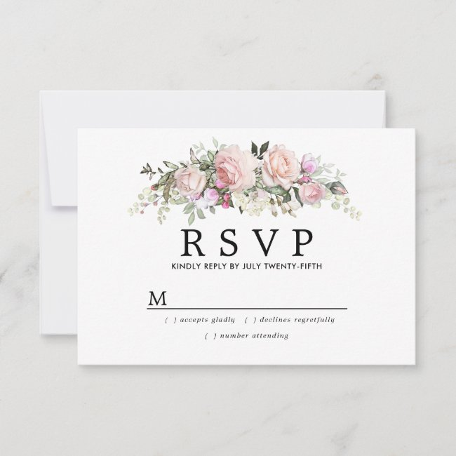 Rustic Blush Pink Floral Wedding RSVP