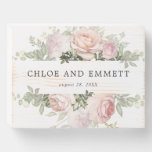 Rustic Blush Pink Floral Wedding Wooden Box Sign