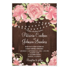 Rustic blush pink peonies and lights on barn wood card