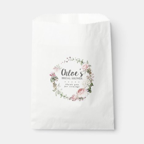 Rustic Blush Pink Roses Floral Bridal Shower Favor Bag