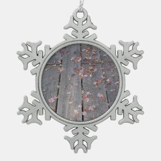 Rustic Boardwalk Snowflake Pewter Christmas Ornament