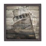 Rustic Boat On Shore Premium Keepsake Box
