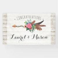 Rustic Bohemian Arrow Wedding Congratulations Sign