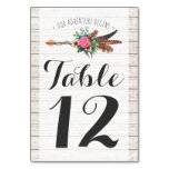 Rustic Bohemian Arrow Wedding Table Number Card