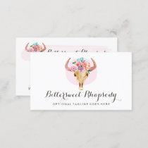 Rustic Bohemian Cow Skull Watercolor Blush Floral Business Card