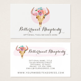 Cow business cards templates zazzle rustic bohemian cow skull watercolor blush floral business card colourmoves