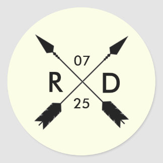 Rustic & Bohemian | Crossed Arrow | Custom Wedding Classic Round Sticker