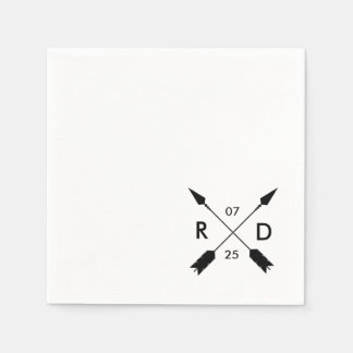 Rustic & Bohemian | Crossed Arrow | Custom Wedding Paper Napkin