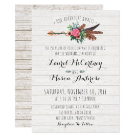 Rustic Bohemian Feathers Arrow Wedding Invitation