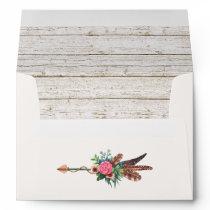 Rustic Bohemian Feathers Arrow Wedding Invitation Envelope