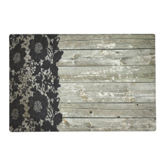 rustic bohemian girly barn wood vintage black lace placemat