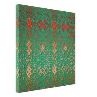 Rustic Bohemian Jade and Red Pattern Canvas Print