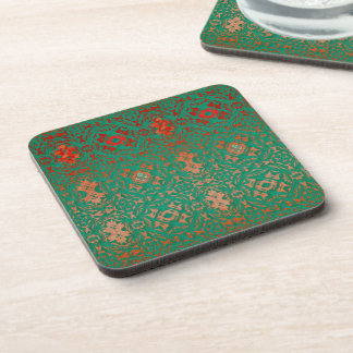 Rustic Bohemian Jade and Red Pattern Drink Coaster