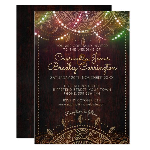 Rustic Bohemian Nights Wedding Invitation