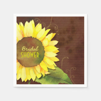 Rustic Bohemian Sunflower Bridal Shower Napkins