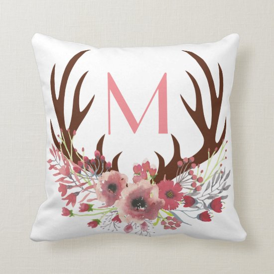 Rustic Bohemian Watercolor Floral Deer Antlers Throw Pillow