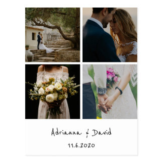 Rustic Bohemian Wedding Thank You Photo Collage Postcard