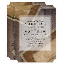 Rustic Bohemian Wood textured Wedding Card