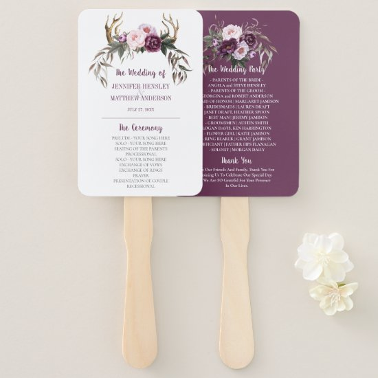 Rustic Boho Antlers Purple Plum Peonies Wedding Hand Fan
