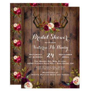 Rustic Boho Bridal Shower with deer antlers Card